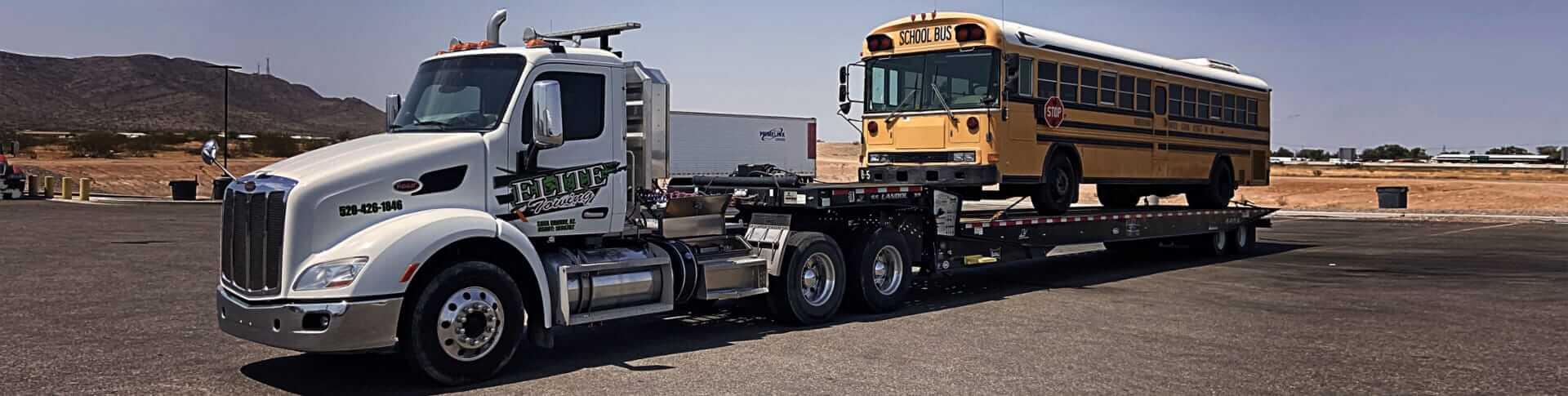 school bus towed by Elite Towing